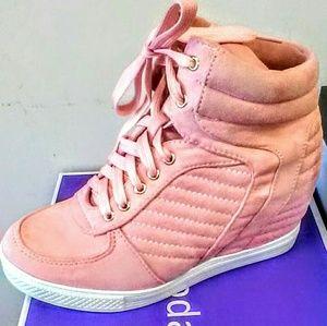 Pink Suedish Wedge Heel Sneaker